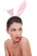 woman wearing cute bunny ears