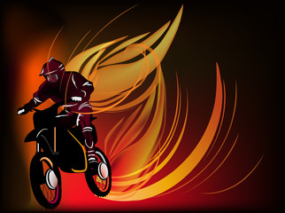 man on motorcycle in fire illustration
