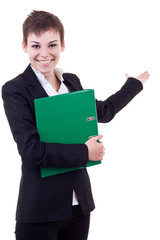 business woman with folder presenting