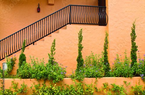 mediterranean building style with stairs