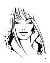 Piękna twarz kobiety. bez wektor tle
