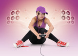 Young girl with joystick gamer poster