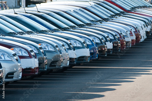 Row of unsold new cars