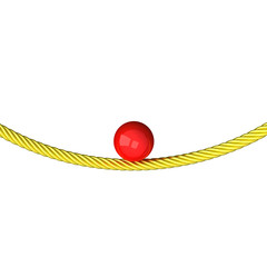 Balance concept - red sphere on gold rope 3d