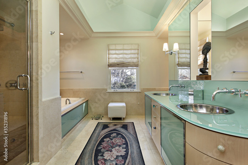 Master bath with lime green vanity