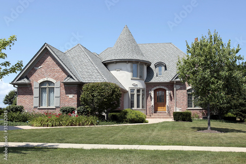 Brick home with turret