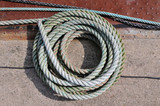 Boat rope in tidy spiral coil poster