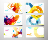 Fototapety Set of abstract colorful splash gift cards.
