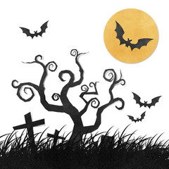 Halloween night recycled papercraft background