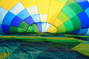 colorful hot air balloon from inside