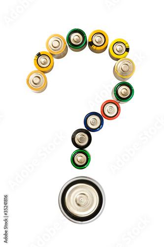 Leinwanddruck Bild Question mark made from batteries