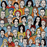 Seamless pattern with unrecognizable people faces. poster