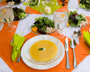 Healthy Meal in a  Beautiful, Colorful Table Setting
