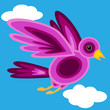 Graphic shape purple bird