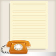 Retro style telephone with blank note page