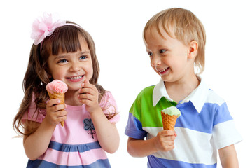happy children twins girl and boy with ice cream in studio isola