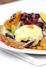 Portobello mushroom brie eggs benedict