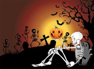 Scheletro Halloween al Cimitero-Halloween Skeleton at Cemetery