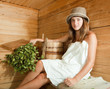 girl relaxing  in sauna