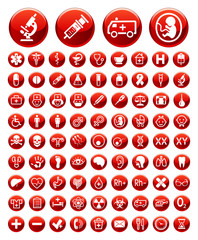 Set of simple medical icons and warning signs