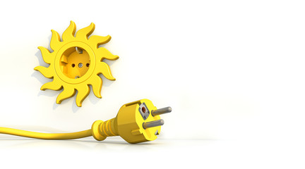 Steckdose Sonne Stecker liegend freigestellt