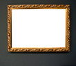 Vintage golden frame on grunge wall