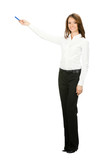 Full body business woman showing, isolated