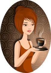 Ładna kobieta z filiżanką gorącej kawy.