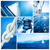 Fototapety Yacht collage. Sailboat. Yachting concept