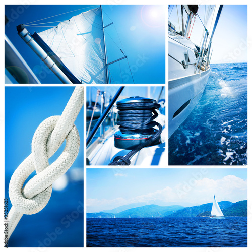 Fotobehang Jacht Yacht collage. Sailboat. Yachting concept