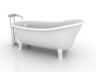 retro bath on white