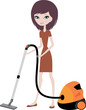 Pretty girl with vacuum cleaner. vector,