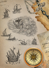 Old paper with sailboats