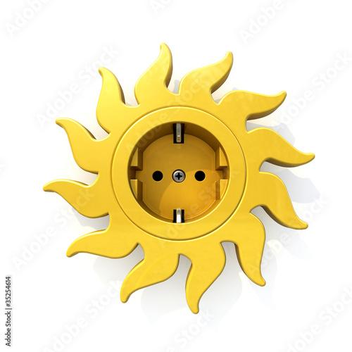 Steckdose Sonnenblume freigestellt Solarstrom