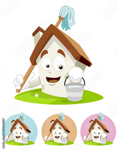 House Cartoon Mascot - holding swab