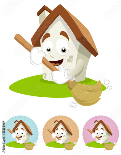 House Cartoon Mascot - broom