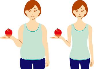 ダイエット リンゴを持つ女性