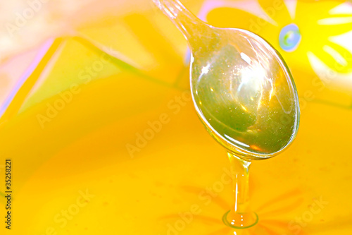 scene honey in plate as food background