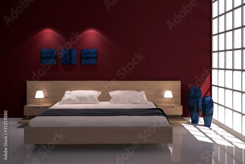 """""""Camera da letto con finestra e parete rossa"""" Immagini e Fotografie Royalty Free su Fotolia.com ..."""