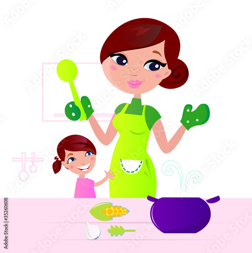 Mother cooking healthy food with child in kitchen .