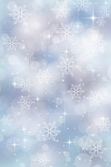 Holiday background with bokeh lights snowflakes and stars