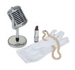 Microphone with White Gloves, Pearls and Lipstick