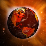 Planet Earth showing North America with Global Warming