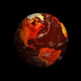 Planet Earth showing North America with Global Warming against b