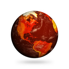 Isolated Planet Earth showing North America with Global Warming