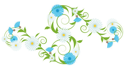Vignette of cornflowers and daisies
