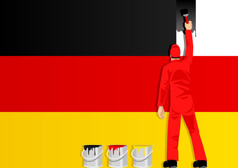 Illustration of a man figure painting the flag of Germany