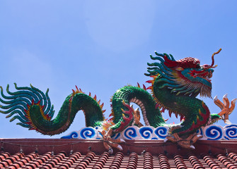 A statuary of a dragon in Chinese temple. thailand