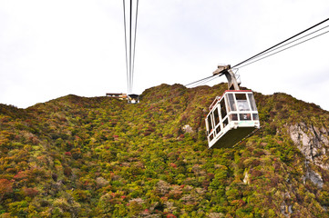 Cable car on the mountain  at National Park Unzen, Obama, Japan