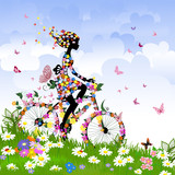 Fototapety Girl on bike outdoors in summer